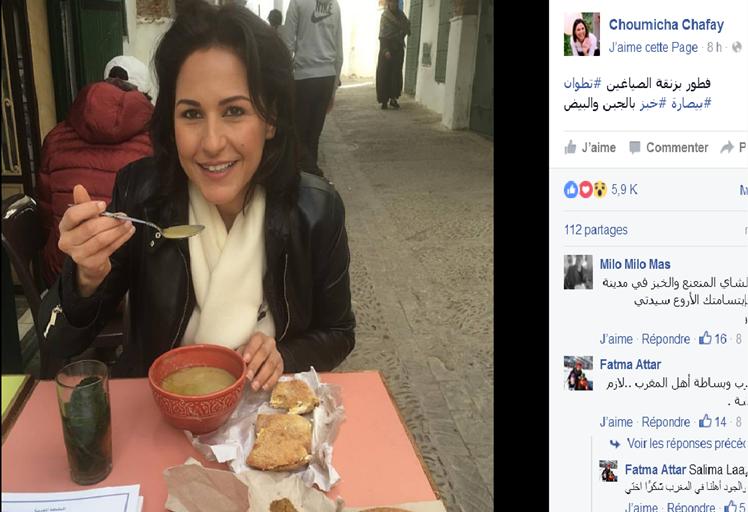 """بالصور: شميشة رفقة طبق """"البيصارة"""" بتطوان تشعل الفيس بوك"""