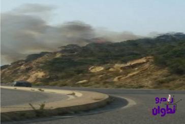 عاجل بالفيديو والصور: حريق بضواحي القصر الصغير يستدعي تدخل الجيش المغربي