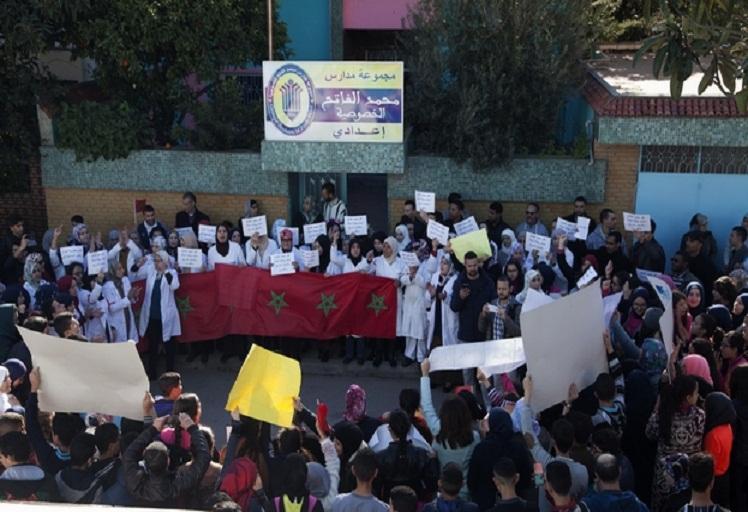 الاحتجاجات على إغلاق مدارس الفاتح متواصلة بمدينة تطوان والسلطة تخلف بوعدها
