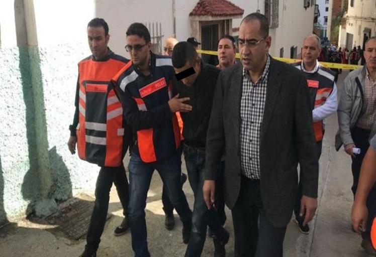 """بالصور: إعادة تمثيل جريمة قتل بشعة راح ضحيتها عجوز من جانح """"جزائري"""" بحي الرومانة في تطوان"""