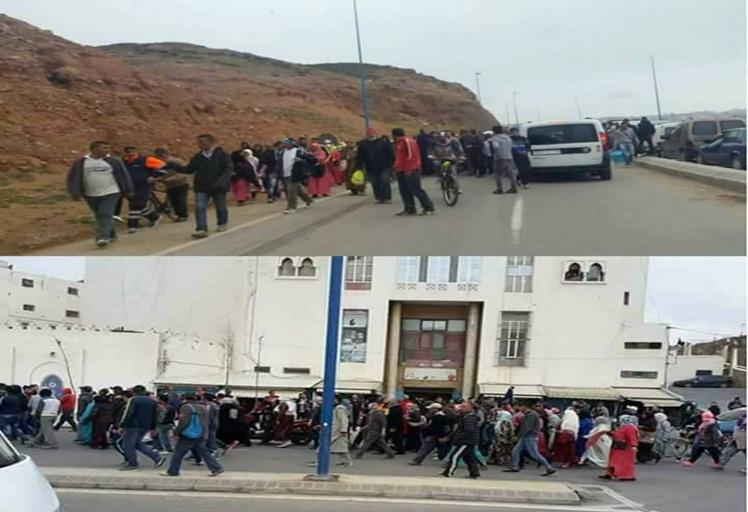 احتجاجات ومسيرة على الأقدام حاشدة من معبر باب سبتة المحتلة لهذا السبب
