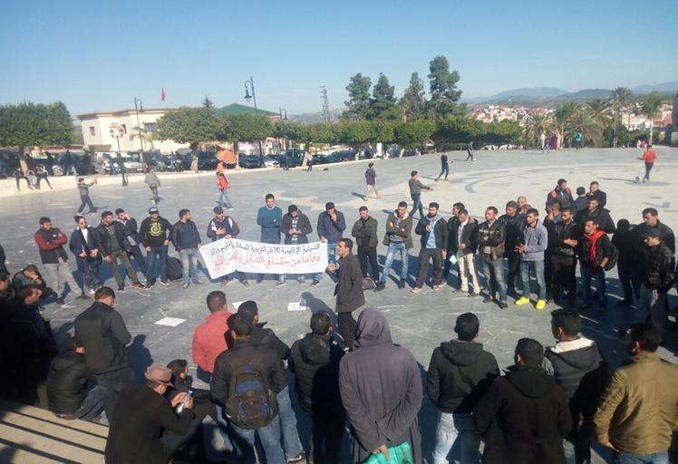 """القوات العمومية تتدخل لمنع """"إنزال إحتجاجي"""" لأطر تربوية بوزان"""