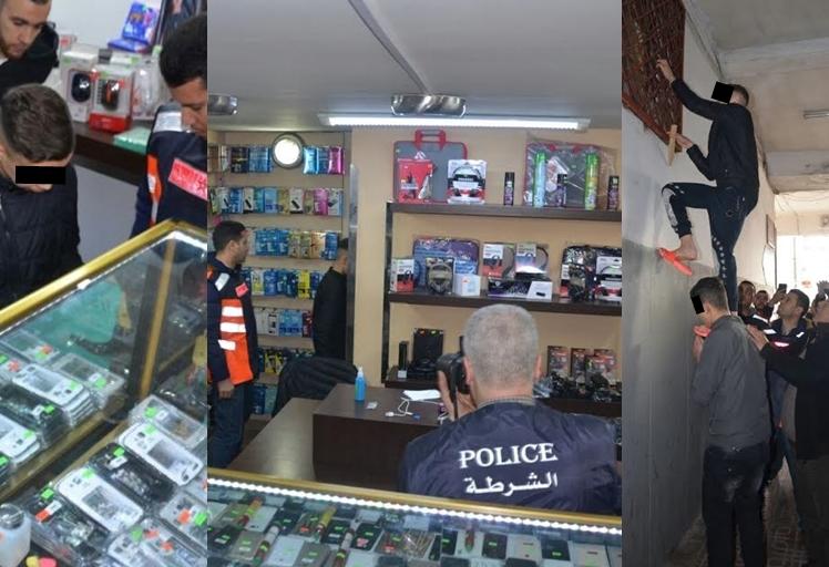"""إعادة تمثيل جريمة سرقة محل """"إلكترونيك"""" بحي الشلال بتطوان"""